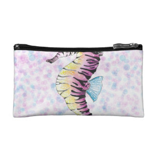 pink seahorse cosmetic bag