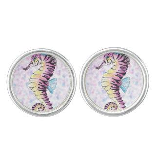 pink seahorse cufflinks