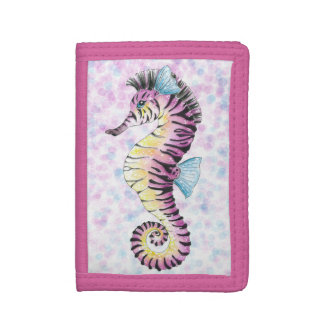 pink seahorse trifold wallet