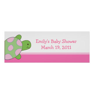 Pink Seaturtle Baby Shower /  Birthday Banner Poster