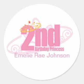 pink second BIRTHDAY PRINCESS party sticker