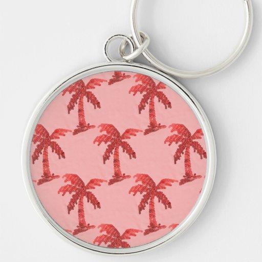 Pink Sequin Grunge Palm Tree Image Keychains