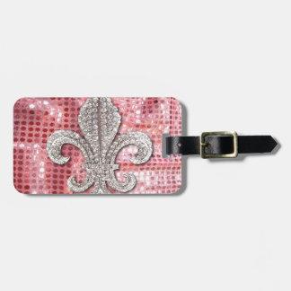 Pink Sequin Sparkle Jewel Fleur De Lis Vintage Luggage Tag