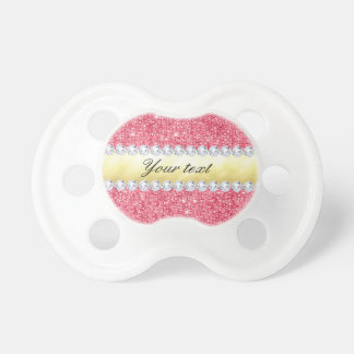 Pink Sequins Gold Foil and Diamonds Baby Pacifier