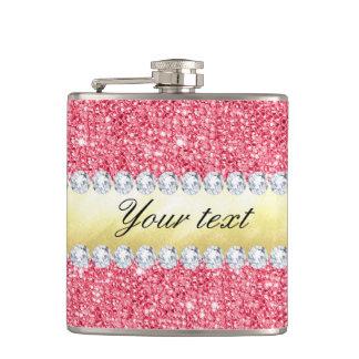 Pink Sequins Gold Foil and Diamonds Flasks