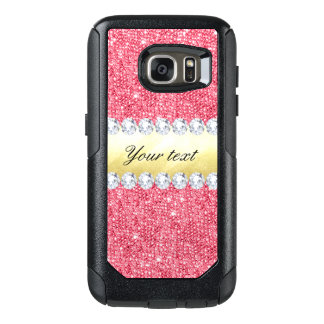 Pink Sequins Gold Foil and Diamonds OtterBox Samsung Galaxy S7 Case