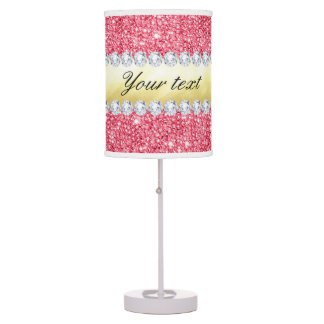 Pink Sequins Gold Foil and Diamonds Table Lamps