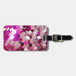 Pink Sequins Sparkles Fashion Customize w/ Text Luggage Tag