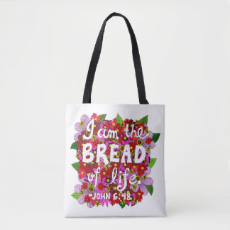 Pink Shades Flower Doodle Typography Bible Verse Tote Bag