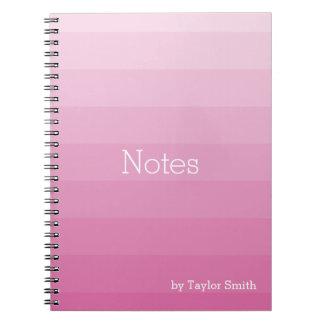 Pink Shades Horizontal Stripes Youthful Notebooks