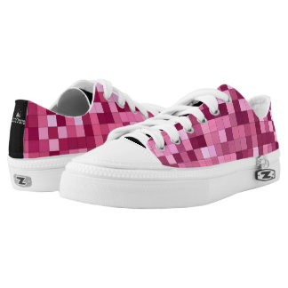 Pink Shades Square Pattern Low-Top Sneakers