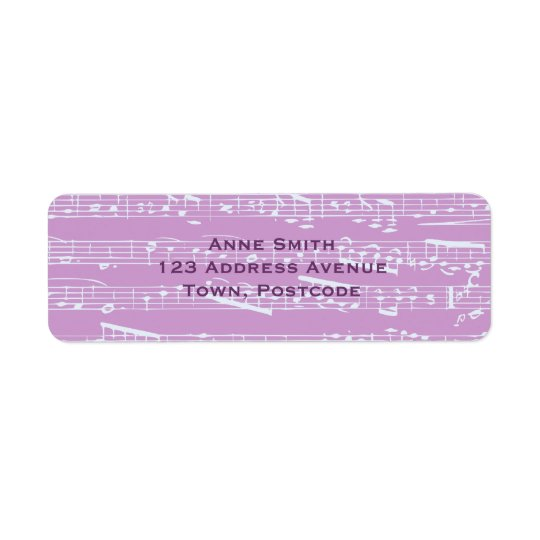 Pink Sheet Music Return Address Label