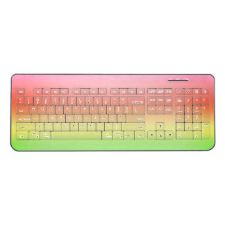 Pink Sherbet Ombre Gradient Watercolor Green Yello Wireless Keyboard