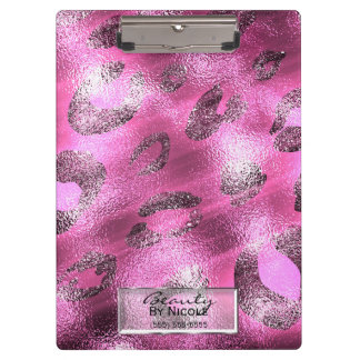 Pink Shiny Leopard Elegant Chic Glam Personalized Clipboard