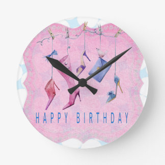 Pink Shoes Happy Birthday Clock