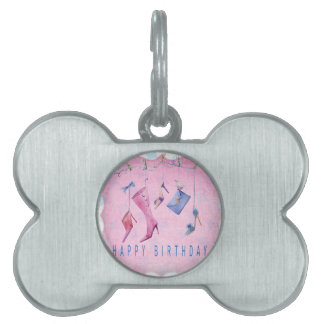 Pink Shoes Happy Birthday Pet ID Tag