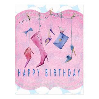 Pink Shoes Happy Birthday Postcard