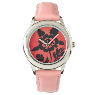 Pink SilhouetteRose With Pink Band Stainless Watch