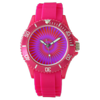 Pink silicon watch with neon optical illusion face