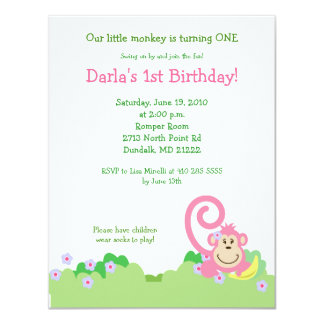 Pink Silly Monkey Jungle 4x5 Girl Birthday Card