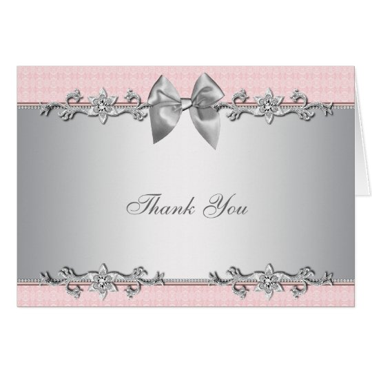 Pink Silver Baby Shower Gift Thank You Card