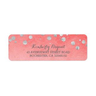 Pink Silver Confetti Wedding Return Address Label
