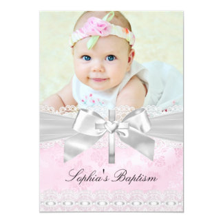 "Pink Silver Cross Lace Bow Photo Baptism 5"" X 7"" Invitation Card"