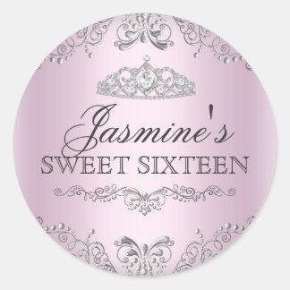 Pink Silver Damask Tiara Sweet 16 Sticker