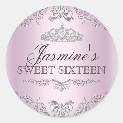 Pink Silver Damask & Tiara Sweet 16 Sticker
