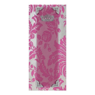 Pink Silver Damasks Table Card
