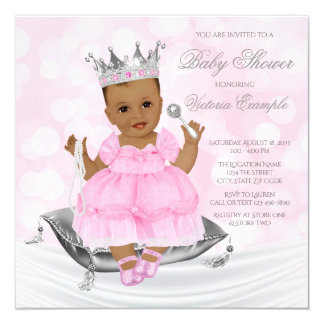 Pink Silver Ethnic Princess Baby Shower Invitation