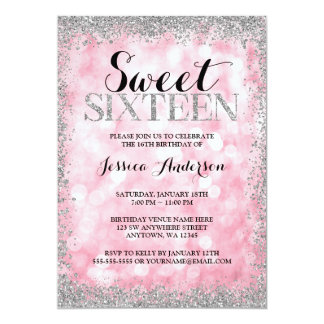 Pink Silver Faux Glitter Lights Sweet 16 Birthday Card