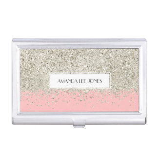 Pink & Silver Glitter Business Card Holder