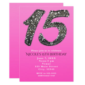 Pink & Silver Glitter FIFTEEN 15 Party Invitations