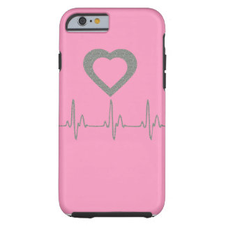 Pink/Silver Glitter Heart/Heartbeat/Pulse Tough iPhone 6 Case