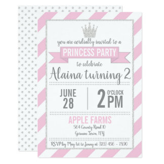 Pink Silver Glitter Princess Birthday Invitation