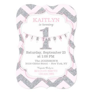 Pink Silver Glitter Sparkle First Birthday Invite