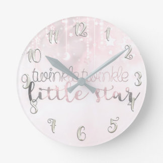 Pink Silver Glowing Celestial Twinkle Little Star Round Clock
