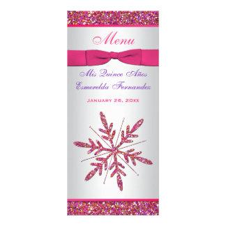 Pink, Silver Gray FAUX Glitter Snowflakes Menu