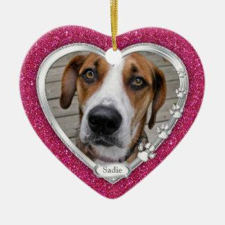 Pink Silver Heart Pet Dog Memorial Photo Christmas Ceramic Heart Ornament