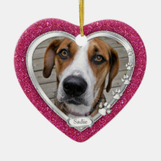 Pink Silver Heart Pet Dog Memorial Photo Christmas Ceramic Ornament