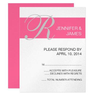 Pink Silver Monogram Names Wedding RSVP Cards