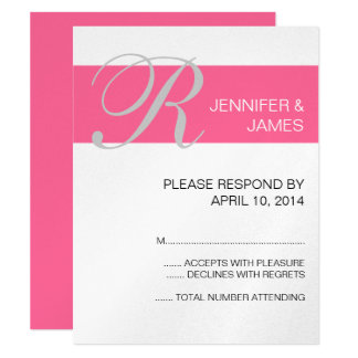 "Pink Silver Monogram Names Wedding RSVP Cards 4.25"" X 5.5"" Invitation Card"