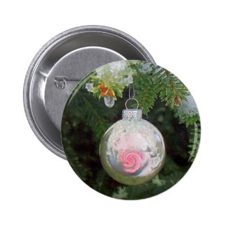 PINK & SILVER ORNAMENT on TREE by SHARON SHARPE 2 Inch Round Button