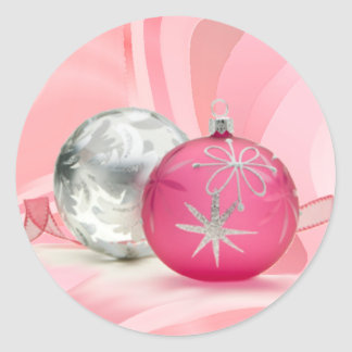 PINK & SILVER ORNAMENTS by SHARON SHARPE Classic Round Sticker