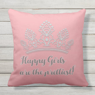 Pink Silver Pageant Tiara Happy Girls Prettiest Throw Pillow