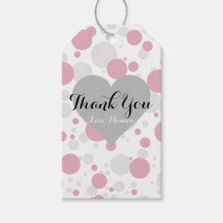 Pink & Silver Polka Dot Party Thank You Gift Tags
