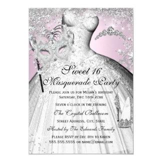 Pink & Silver Princess Masquerade Sweet 16 Invite