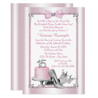 Pink Silver Princess Quinceanera Invitations