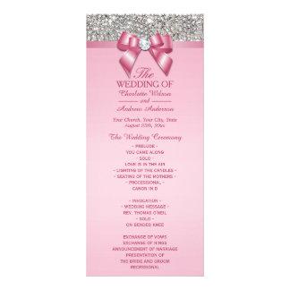 Pink Silver Sequin Diamond Bow Wedding Program